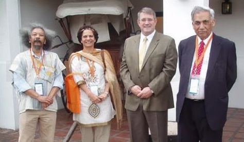 (from left to right) Robert Kriger (NRF), Lidia Brito (UNESCO), Albert van Jaarsveld (NRF), and Krishan Lal (CODATA)