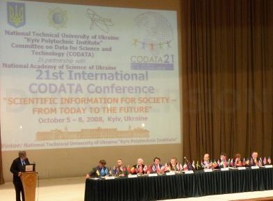 Mikhail Zgurovsky (left) speaks at the CODATA Conference Opening Ceremony