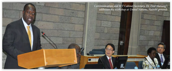 Communication and ICT Cabinet Secretary Dr Muliaro addresses at UN - 2014 (c) JKUAT